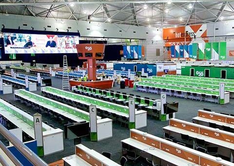 G20 media centre set up in Exhibition hal