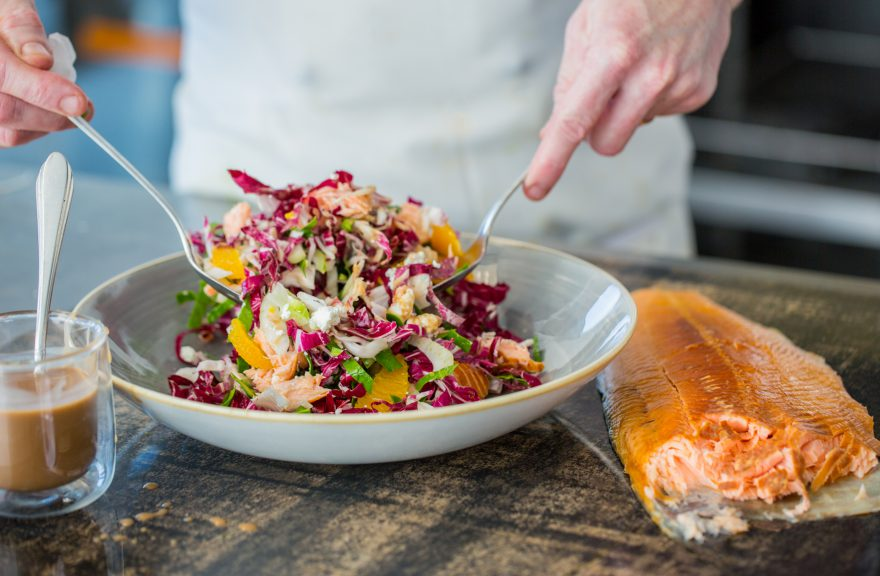 Salmon salad dish