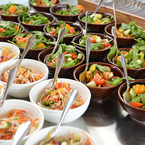 Food: Bowls of fresh salad sourced from local food suppliers