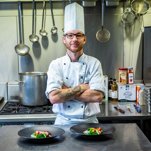 Food Preparation: Matt Lee overseeing food preparation