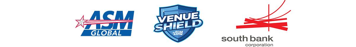 ASM Global logo, VenueShield Logo, South Bank Corporation logo