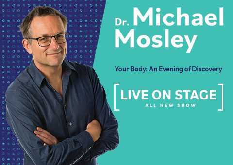 Dr Michael Mosley arms folder on a blue and green background, advertising his new show for Brisbane 2021