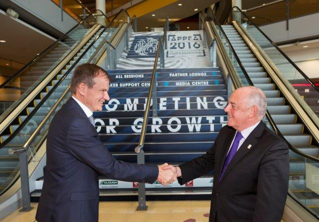 Dr Malcolm Roberts, Chief Executive, APPEA shakes hands with Bob O'Keeffe, BCEC General Manager
