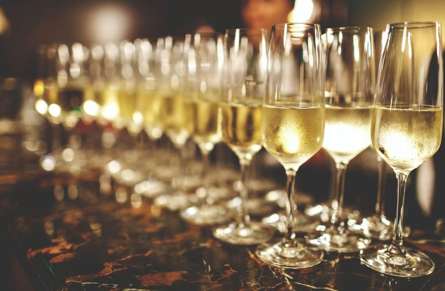 champagne flutes in a row
