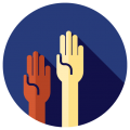 volunteer icon - hands in air