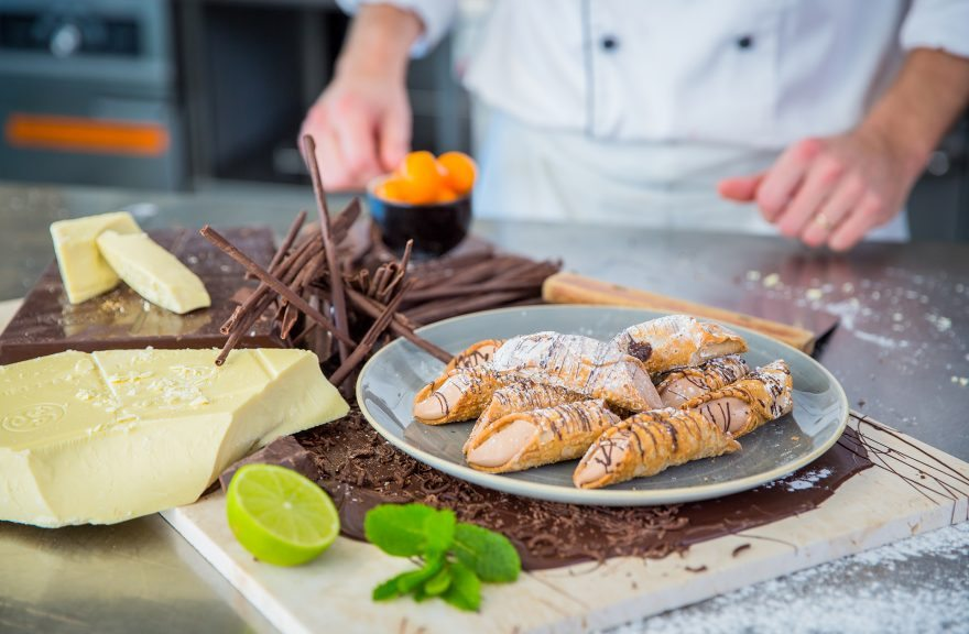 chocolate canole plated